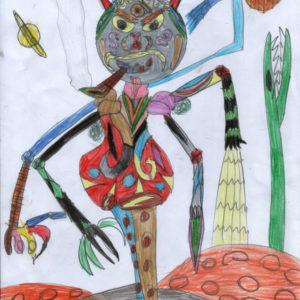"""Arrivano i mostri"""" (FrancescoPio, 8 anni - pastello su carta)"""