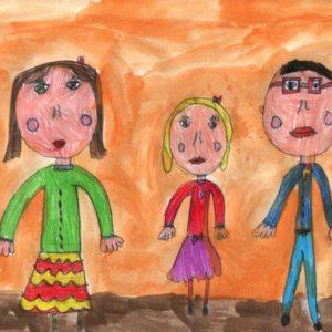"""""""La mia famiglia"""" (Marta, 7 anni - pastello e acquarello su carta)"""