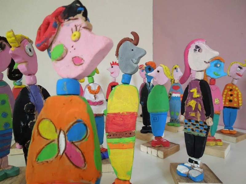 Laboratorio, bambini, terracotta, scultura, pastello, vasto, arte