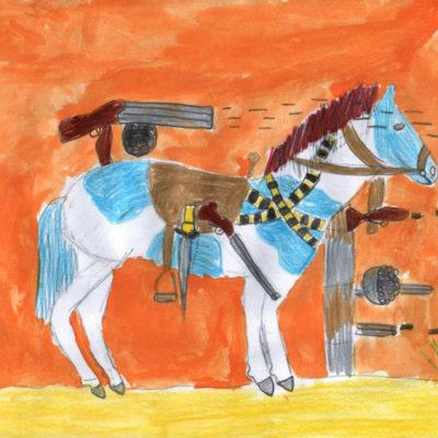 Raffaele, 9 anni - pastello e acquerello su carta