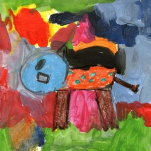 """""""Il gatto"""" (Danilo, 4 anni - tempera su carta)"""