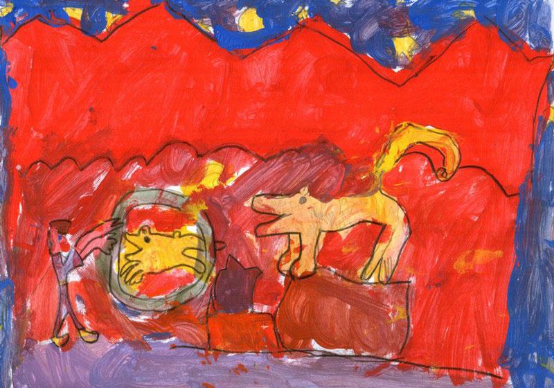 Laboratorio, arte, bambini, disegno, circo, tempera, vasto