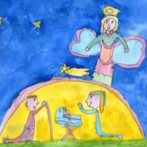 """""""Natività"""" (Giulia, 7 anni - pastello e acquarello)"""