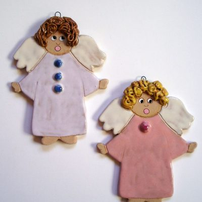 Angeli in ceramica, bomboniera per la Prima Comunione