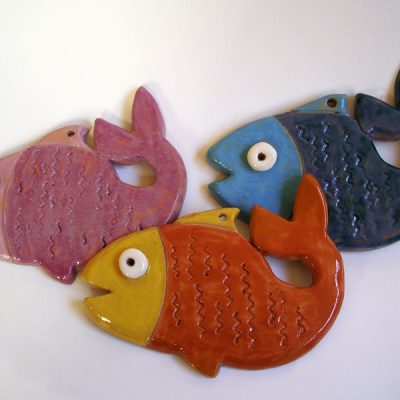 Pesci in ceramica, bomboniera per la Prima Comunione