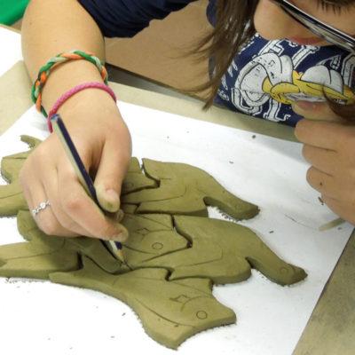 mosaico, ragazzi, scuola, argilla
