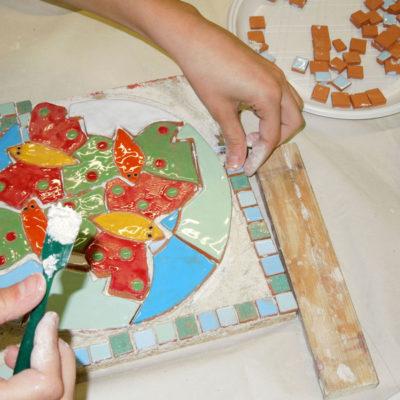 mosaico, ragazzi, scuola, ceramica