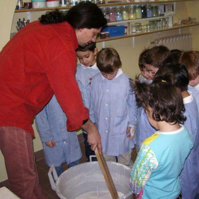 Visita scolastica e preparazione dello smalto ceramico