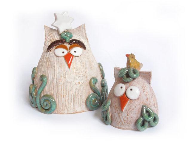 Campanella in ceramica. I gufi portafortuna