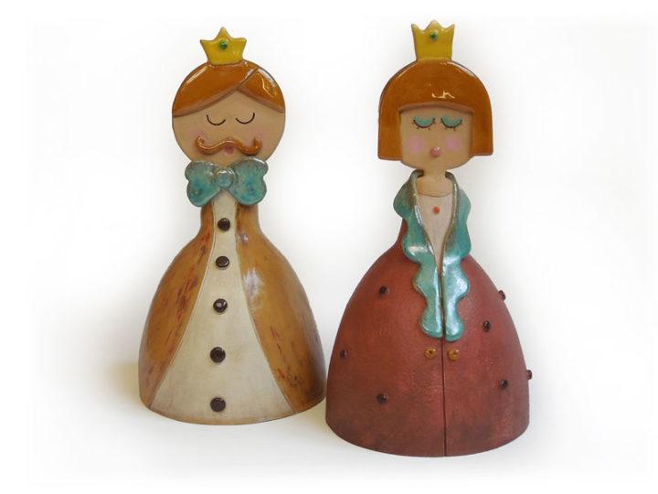 Campanella da favola, Re e Regina in ceramica realizzata a mano dal Laboratorio ArtiBus di Vasto