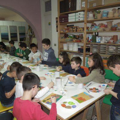 Laboratorio di pittura durante la festa di compleanno