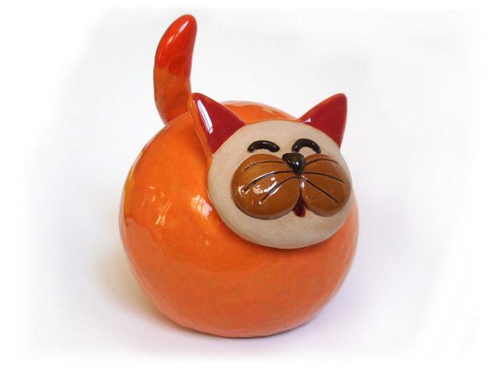 Gatto - Campanelle a cono in ceramica realizzate e dipinte a mano dal laboratorio ArtiBus di Vasto
