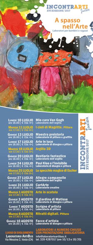 Laboratori d'arte estate 2017 a Vasto (CH). Argilla, pittura e ceramica per bambini e ragazzi
