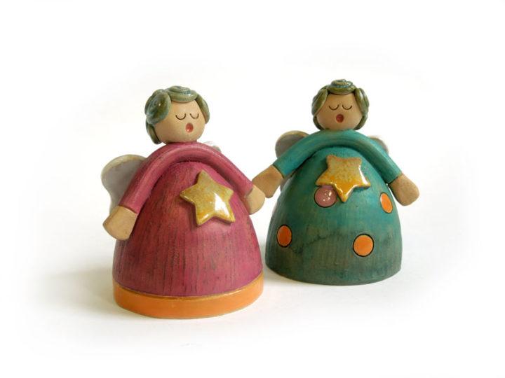 Le fatine - Campanelle a cono in ceramica realizzate e dipinte a mano dal laboratorio ArtiBus di Vasto
